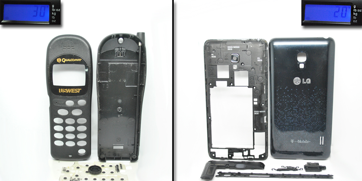 New Vs Old Cell Phone Plastic